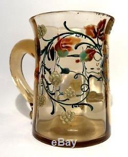 Vase A Anse En Verre Emaille Signee Emile Galle Art Nouveau 1890 Nancy No Daum