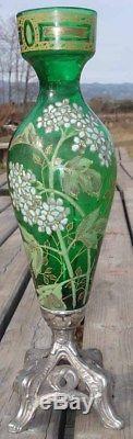 -Vase Amphore Art Nouveau verre soufflé émaillé sur fond vert