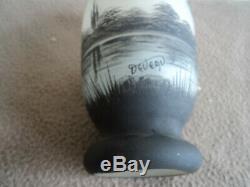 Vase Art Deco Nouveau Pate De Verre Deveau Decor Lacustre Peint En Grisaille