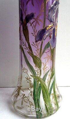 Vase Art Nouveau Aux Iris, Verre Prune Emaille Legras Montjoye