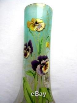 Vase Art Nouveau Aux Pensees, Verre Celadon Emaille Legras Montjoye