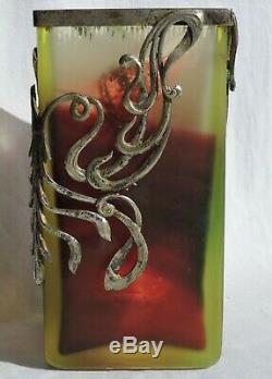 Vase Art Nouveau Carre Avec Monture Verrerie D'art De Lorraine Burgun Schverer