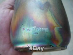 Vase Art Nouveau Ceramique De Montieres Irise Reflets Metalliques 1900 J. Barol