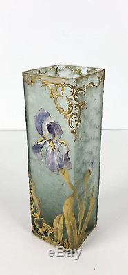 Vase Art Nouveau En Verre Givré À Décor Floral Polychrome Émaillé & Doré Signé