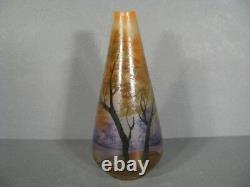 Vase Art Nouveau Epoque 1900 Verre Peint Émaillé Signé Leune/ Verrerie De Leune