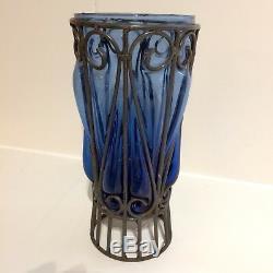 Vase Art Nouveau (Fer forgé Majorelle) verre bleu 1920-1930
