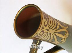 Vase Art Nouveau Sarreguemines à motifs de laiton découpé 1900