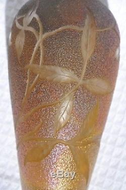 Vase Art Nouveau Signe Pantin Pate De Verre Iridescent Antique Era Loetz