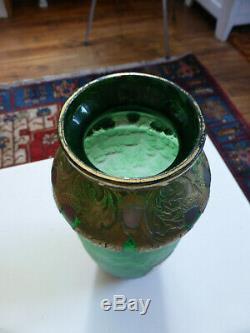 Vase Art Nouveau Verre Givré Legras St Denis Hauteur 30 cm