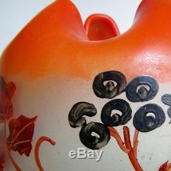 Vase Art Nouveau XXL Signé Legras Verre Soufflé Maté À Lacide Déco Émaillée Xx°