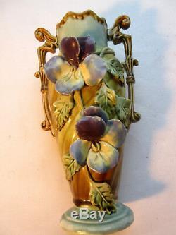 Vase Art Nouveau, céramique barbotine les PENSEES, Onnaing ou De Bruyne