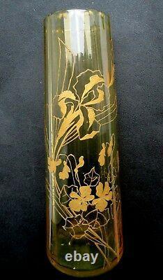 Vase Art Nouveau cristal BACCARAT ouraline miel émaillé LEGRAS Iris + violettes