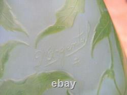 Vase Art Nouveau en Verre Dégagé à l'acide d'Argental Décor de Chanvre