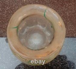 Vase Art Nouveau en Verre dégagé à l'acide Montjoye Legras St Denis