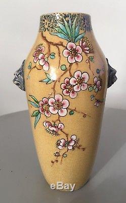 Vase Art Nouveau en faience signé a identifier, Th Deck Emile Gallé céramique