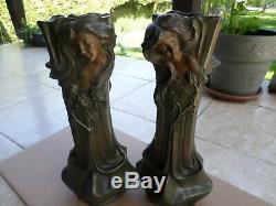 Vase-Art Nouveau-régule-Sculpture-visage féminin signé Floran-Francesco Flora