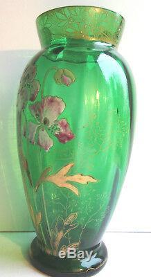 Vase Art Nouveau verre vert émaillé Legras Les anémones mauves et blanches