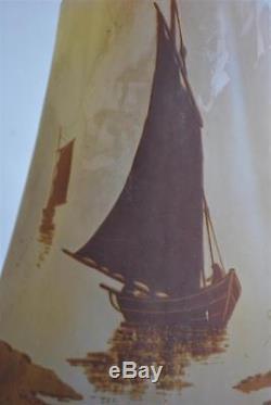 Vase Art nouveau pate de verre Emile Gallé 1900 aux bateaux