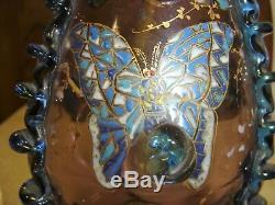 Vase Auguste JEAN émaillé de papillons et insectes art nouveau