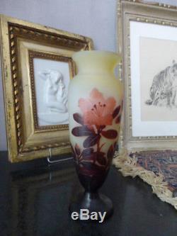 Vase Balustre Galle Art Nouveau 1900 Cameo Etched Glass Tbe Mint 21 Cms