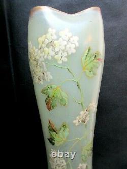 Vase Belgrade émaillé Legras Art Nouveau, 40 cm Boules de neige et feuilles