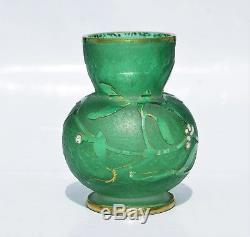 Vase Boule DAUM à Nancy Décor de Gui Pâte de Verre Gravé & Émaillé Art Nouveau
