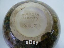 Vase Boule Mougin Nancy n° 44 Z Art Nouveau 1900 Signé cristallisations irisé