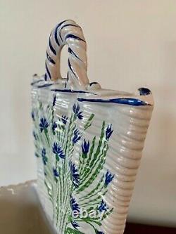 Vase Bouquetiere Emile Galle Aux Bleuets Faience Art Nouveau Ecole De Nancy 1880