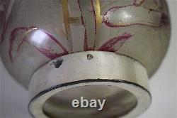 Vase Bouteille Carafe Art Nouveau métal argenté Verre décor iris 1900 jugendstil