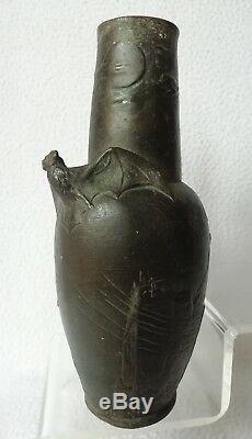 Vase Bronze décor Chauves Souris Hans Stoltenberg LERCHE PARIS 1892 Art-Nouveau