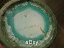 Vase Ceramique Gres A Cristallisations Sarreguemines Modele Etna Art Nouveau