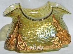 Vase Coupe Loetz En Verre Irise Avec Monture Art Nouveau Chine 1897