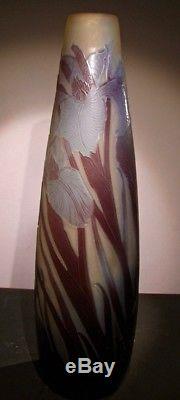 Vase D'emile Gallé D'époque Art Nouveau Original No Copy