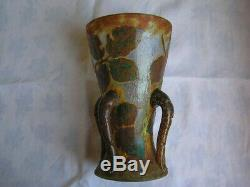 Vase Daum Nancy Époque Art Nouveau En Verre Multicouches Décor Dégagé A Lacide