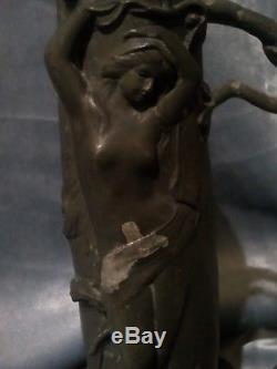 Vase Elsie Ward Hering Etain Ou Regule Art Nouveau 1900 Patine D Origine, Signé