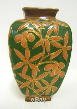 Vase Emaille Faience KG Luneville Art Nouveau Decor Fleurs Peint Main 1880