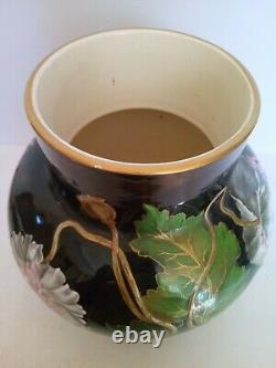 Vase Emaille Faience KG Luneville Art Nouveau Fleurs Et Insectes Peint Main 1880