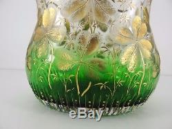 Vase En Cristal Taille Legras Montjoye Decors A La Feuille Or Art Nouveau C766