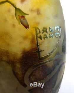 Vase En Pate De Verre Signe Daum Nancy Art Nouveau 1900 Modele Ancolie No Galle