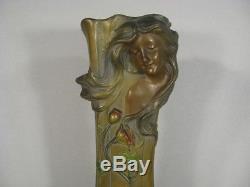 Vase En Régule Patiné Signé Francesco Flora Style Art Nouveau Décor Femme Fleur