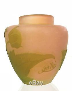 Vase En Verre D'époque Art Nouveau Signé Émile Gallé À Décor Floral