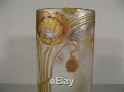Vase En Verre Émaillé Art Nouveau Legras Verrerie Montjoye Décor De Coquelicots