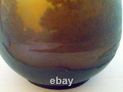 Vase Galle Pate De Verre Grave A L'acide Decor Paysage Epoque Art Nouveau