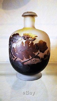 Vase Galle. Rare Flacon Emile Galle(1846-1904) Avec Bouchon. Art Nouveau