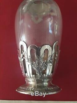 Vase Gallia Empire Laurier 23 X 10 CM Super Metal Argente