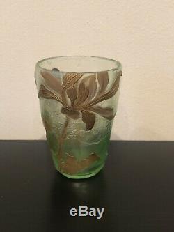 Vase Gobelet Verre Montjoye Legras Dégage À L Acide Art Nouveau 1900
