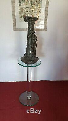 Vase Important En Etain Signe Mattei Art Nouveau