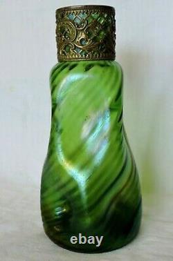 Vase Kralik Loetz En Verre Irise Avec Monture Art Nouveau