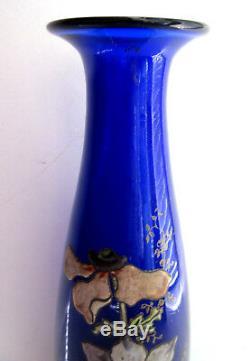 Vase LEGRAS Art Nouveau, verre bleu cabalt émaillé d'anémones et graminées