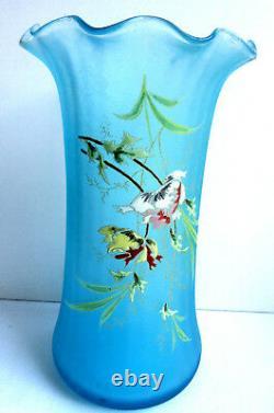 Vase LEGRAS Art Nouveau, verre bleu turquoise émaillé de Pavots et graminées